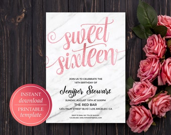 Sweet Sixteen Printable Birthday Invitation Template Rose Gold Marble 16
