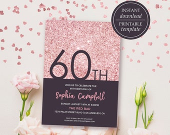 rose gold birthday invitations women 60th birthday etsy