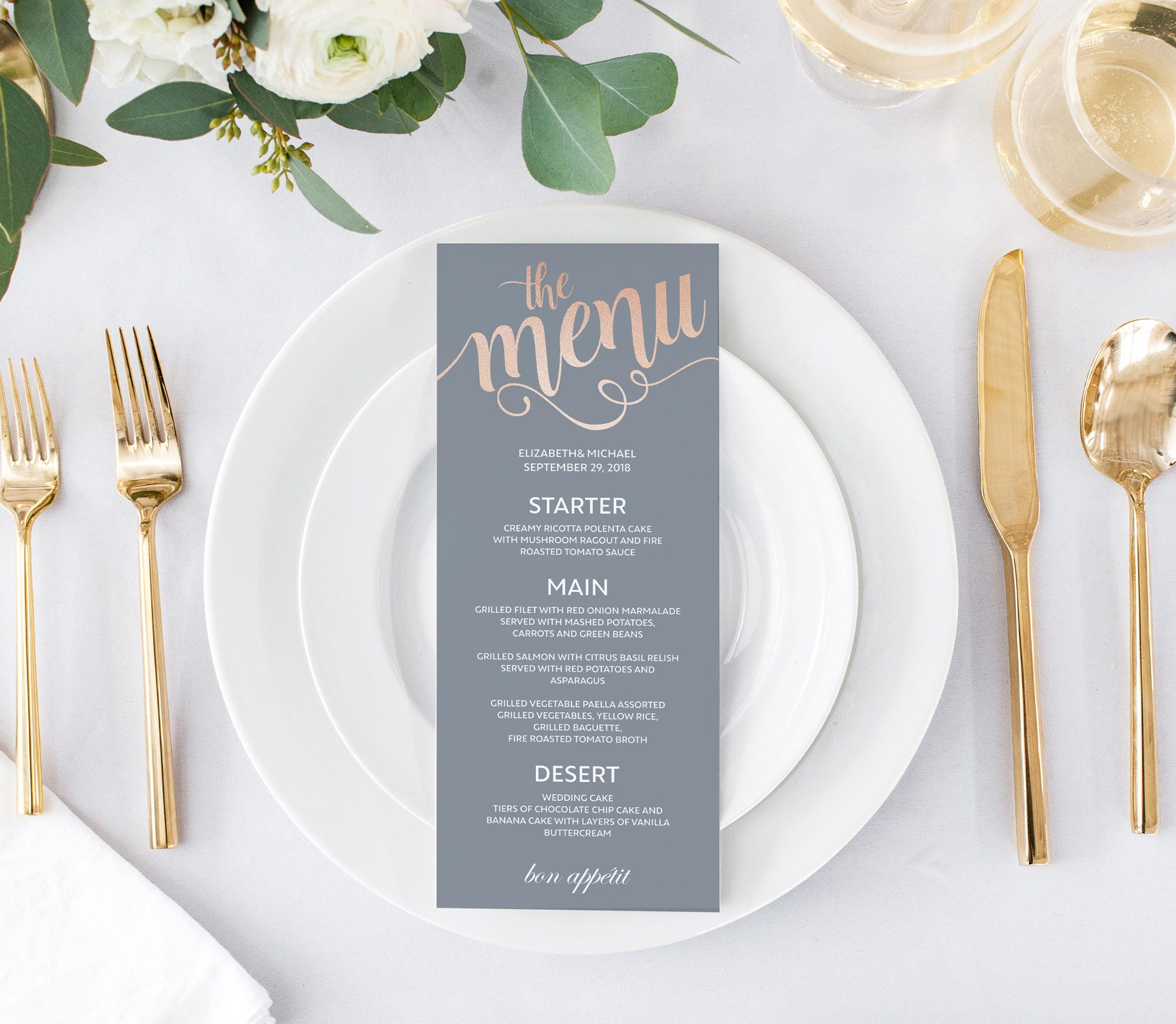 Rose Gold Gray Wedding Menu Template Dinner Menu Template | Etsy