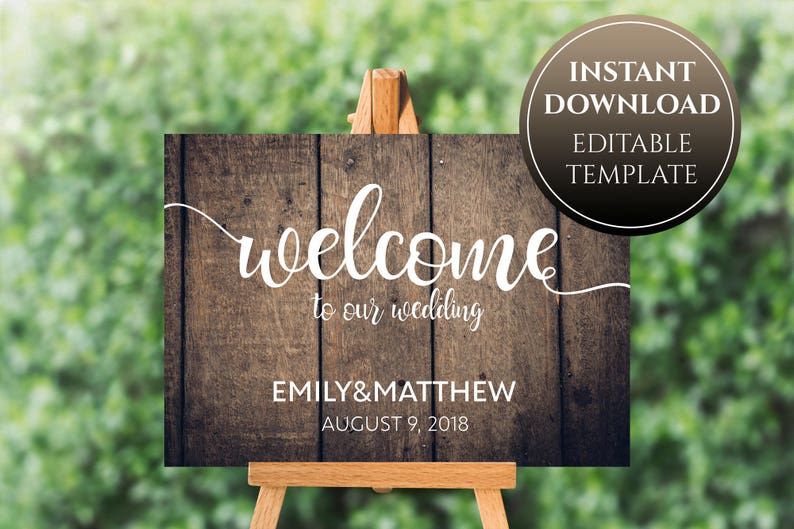 Wood Welcome Wedding Sign, Printable Wooden Sign, Wood Wedding Signs,  Calligraphy Sign, Editable Template, Instant Download, DIY wood sign