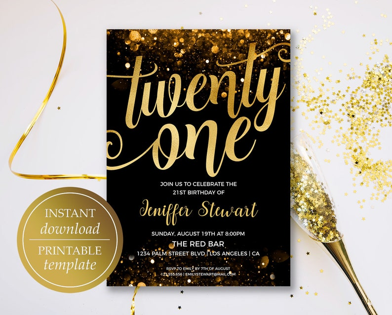 Twenty First Birthday Printable Invitations Template