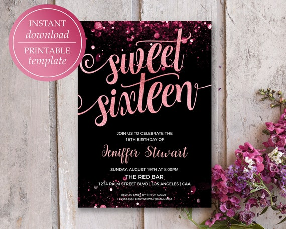 Sweet 16 Invitation 16th Birthday Invitations Rose Gold