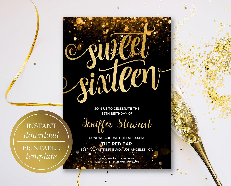 sweet sixteen invitation birthday invitation template gold