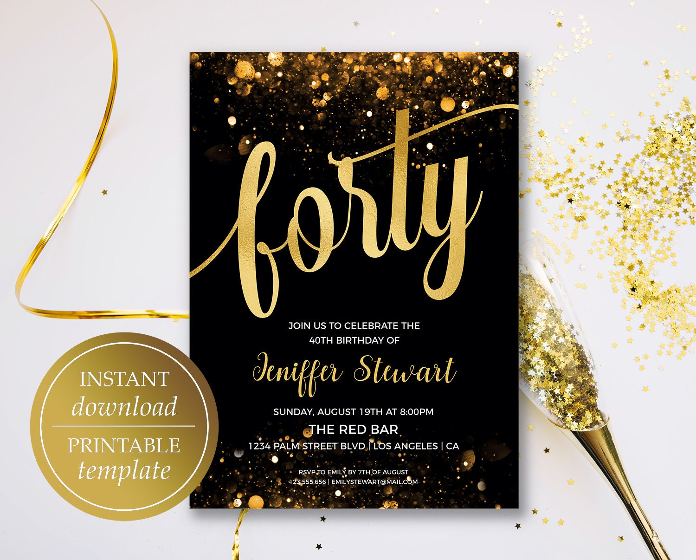 40th Birthday Invitation Printable Forty Birthday