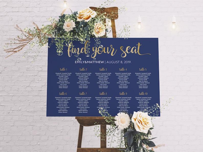 Seating Chart Wedding.Seating Chart Wedding Table Plan Navy Seating Chart Wedding Seating Plan Wedding Table Plan Wedding Decor Gold Seating Chart