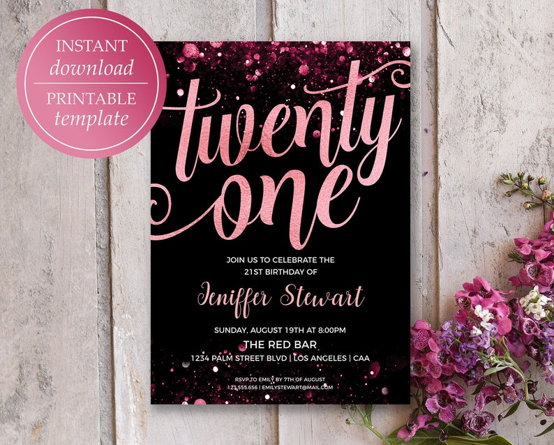 21st Birthday Invitation Rose Gold Printable
