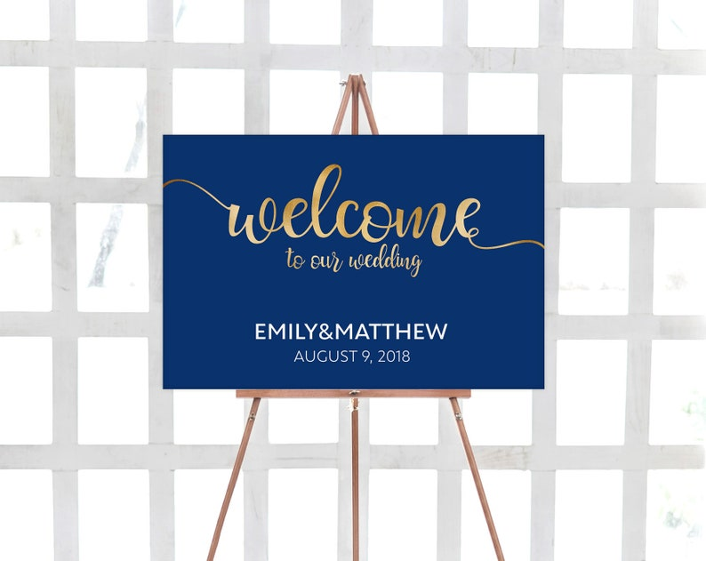 Welcome Sign, Wedding Sign, Navy, Gold, Navy Blue, Template, Wedding  Welcome Sign Printable, Editable, Navy Gold, Printable Sign