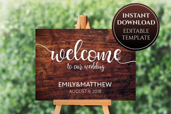 Wooden Wedding Welcome Sign Printable Wood Sign Template Etsy