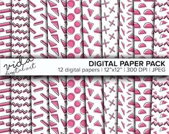 Sweet Baby Girl Pastel Pink Seamless Paper Scrapbook Printable Digital Geometric Pattern