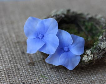 Hydrangea Blue Hydrangea Real Flower Earrings Nature Lover Gift Blue Floral Earrings Hydrangea Jewelry Mother In Law Gift Sister In Law Gift