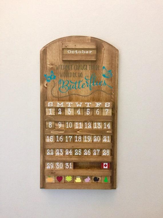 Wooden Perpetual Calendar Butterfly Calendar Wooden Etsy