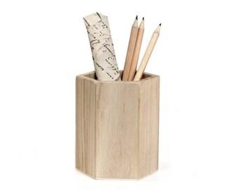 Rico Design Stiftehalter Köcher Holzbecher rund eckig