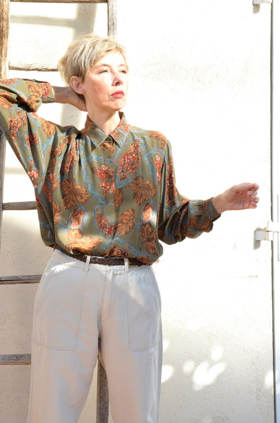 Anne Fontaine Shirt French Vintage Autumn Leaves 9