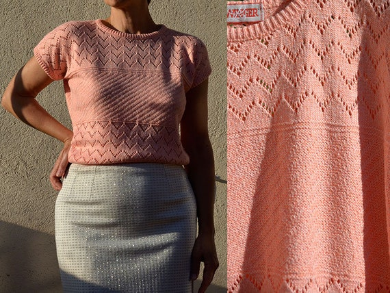 Small French Vintage Pink Sweater 80s Top open cro