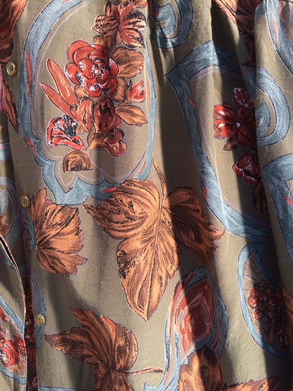 Anne Fontaine Shirt French Vintage Leaves 90s Poe… - image 5