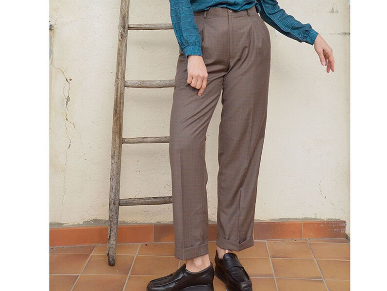 Men S Pants High Waisted Plaid Mudroom Masculine Pants Etsy