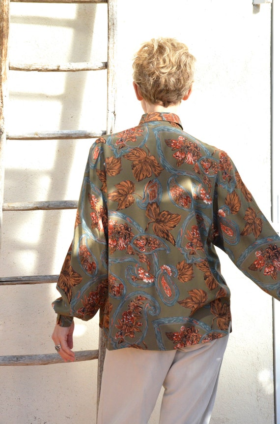Anne Fontaine Shirt French Vintage Leaves 90s Poe… - image 8