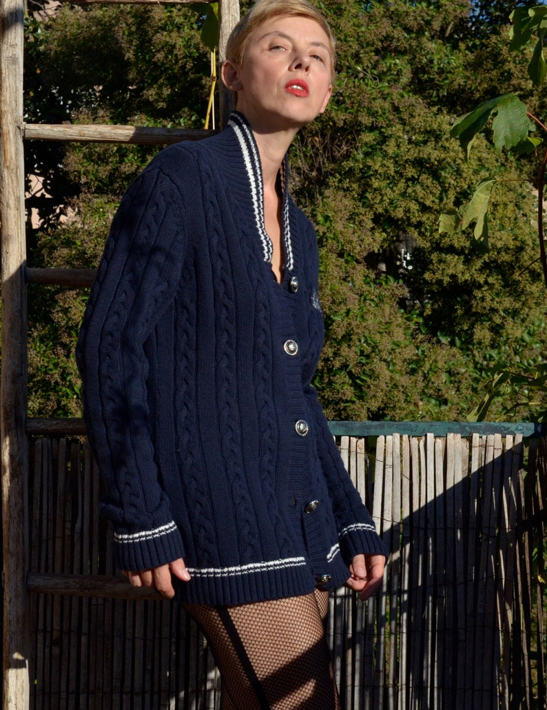 Jodhpur Cardigan vintage 90s Maille torsad\u00e9e c\u00f4tel\u00e9e Gilet sweater pullover Style marin Yacht club Bleu nuit bleu-marine Boutons argent\u00e9s