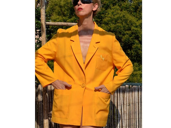 vintage blazer french oversized Weill Yellow M jacket boyfriend linen Blazer woven size pumpkin blend Blazer Blazer yellow L wqp6If