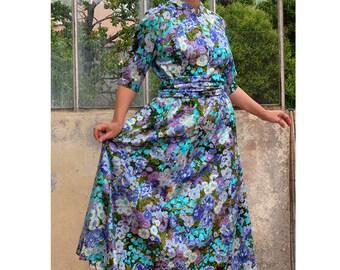 Dress floral long handmade vintage dress cotton dress Mandarin collar with wide belt Blue flowers violet purple blue blend maxi dress, M/L