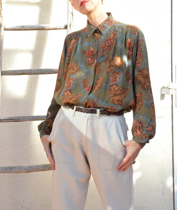 Anne Fontaine Shirt French Vintage Leaves 90s Poe… - image 4