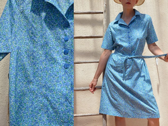 Liberty Blue French Vintage Dress 80s Handmade Cot