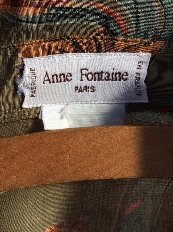 Anne Fontaine Shirt French Vintage Leaves 90s Poe… - image 3