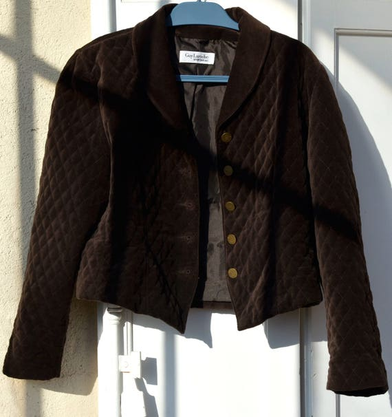 jacket women jacket jacket vintage Guy Velvet Velvet jacket blazer quilted French blazer vintage woman 80's Brown Guy velvet Laroche Laroche t66wrqvT