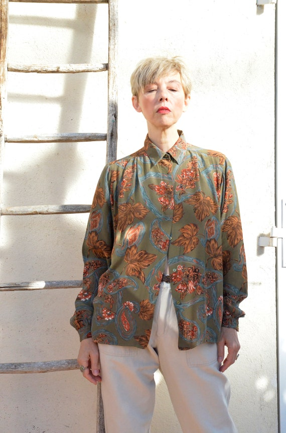 Anne Fontaine Shirt French Vintage Leaves 90s Poe… - image 6
