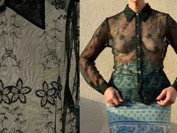Lace French Vintage Shirt 90s Forest Green Guipure