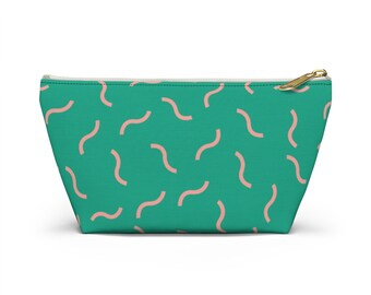 Aqua Accessory Pouch w T-bottom   Customized Tote Canva Pounch   Customized Tote Cosmetic Bag   Travel Make Up Pouch
