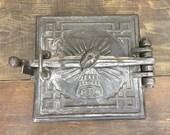 Old large cast-iron stove door, Farmhouse , Antique Decorative Door Of The Furnace,Vintage Oven Door