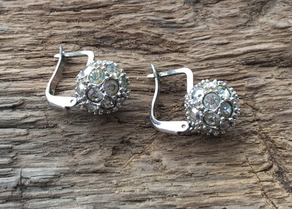 Vintage earrings with stone, trendy jewelry