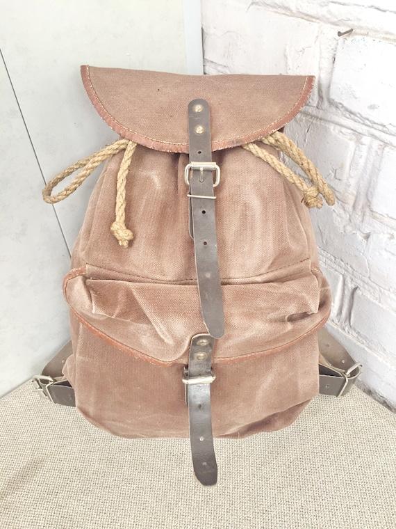 Vintage Distressed canvas backpack Old backpack Tourist canvas backpack Big canvas backpack Fishing backpack Mountain Backpack