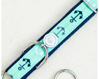 """Anchors Away Dog Collar (Please Leave Size """"inches"""" in Comments Section)"""