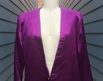 Anne Klien Vintage Silk Wool Blazer Jacket // Silk Blazer Jacket // Wool Blazer Jacket // Purple Blazer Jacket // Vintage Anne Klien