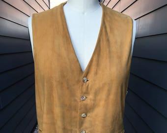 1950s Suede Leather Vest // Catalina Los Angeles Cowboy Vest // Western Vest