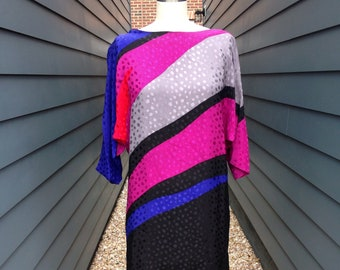 Vintage Silk Color Blocked Dress // Vintage Silk Dress // Graphic Dress