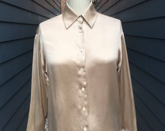 693191bffecad2 Sale------ Vintage Yves Saint Laurent Silk Blouse // YSL Blouse // Vintage Silk  Blouse // Champagne Colored Silk Blouse // YSL Rive Gauche