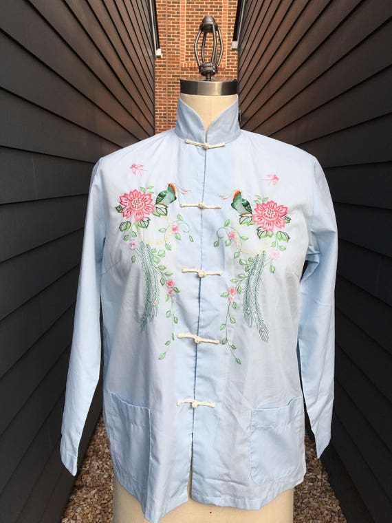 1960s Chinese Embroidered Blouse // Embroidered Bl