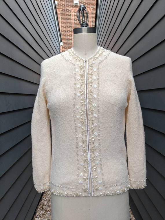 1960s-70s Wool Beaded Cardigan // Vintage Beaded C