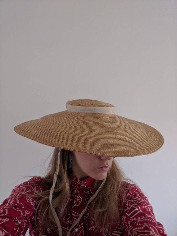 1930s-40s French Provencal Straw Wide Brim Hat //