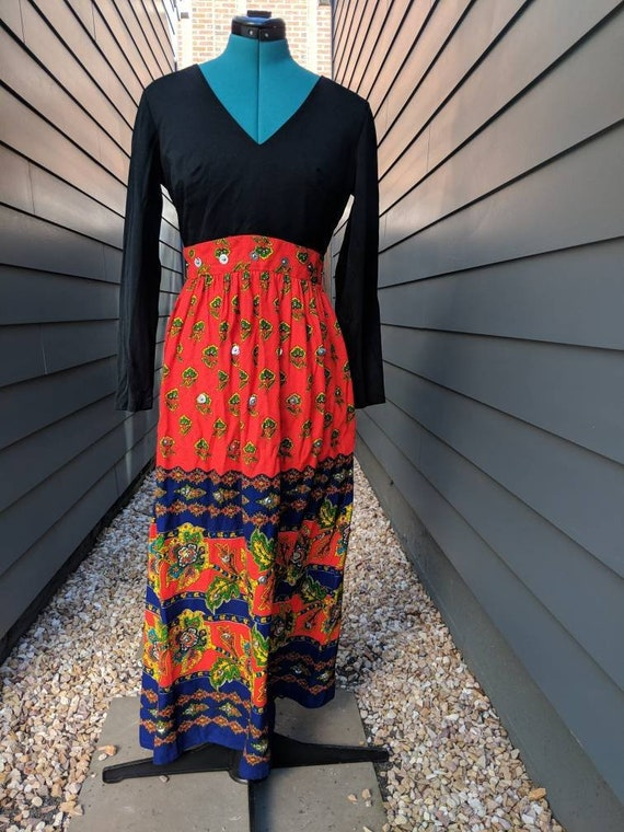 1970s Embellished Maxi Dress // Vintage Maxi Dress