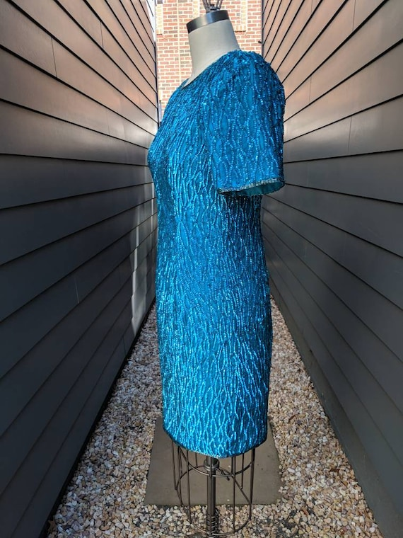 Vintage Sequin Cocktail Dress // Blue Sequin Dres… - image 4