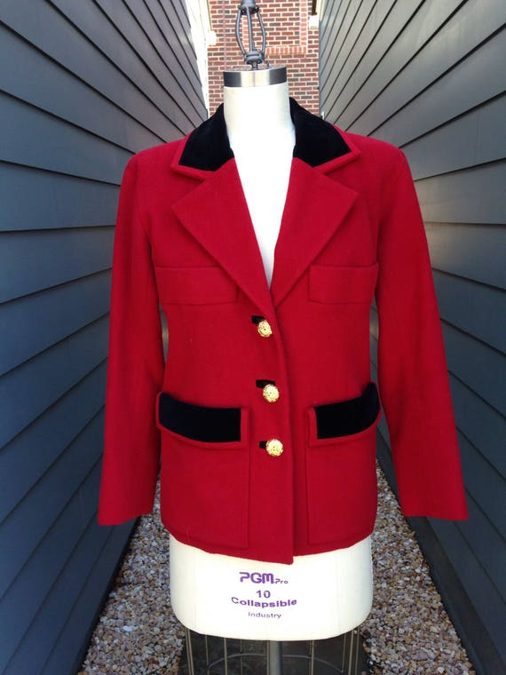 Vintage Yves Saint Laurent Rive Gauche Red Blazer… - image 1