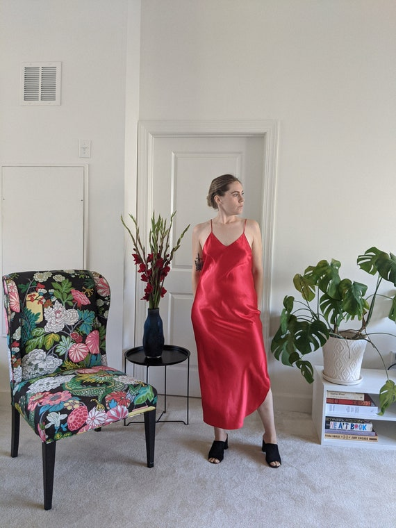 Vintage Slip Dress // Vintage Slip Dress // Red Sl