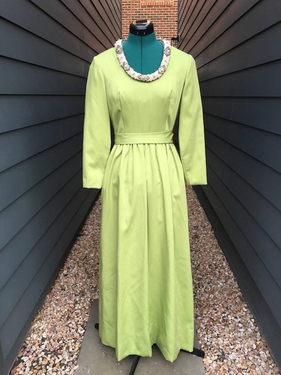1960s Dynasty Dress with Beaded neckline // Vintag