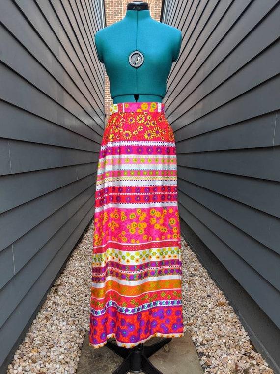 1970s Maxi Neon Floral Skirt // Vintage Cotton Max