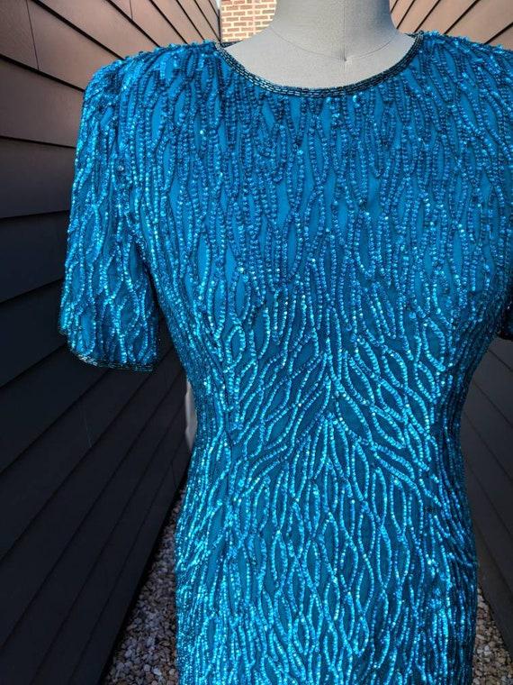 Vintage Sequin Cocktail Dress // Blue Sequin Dres… - image 2