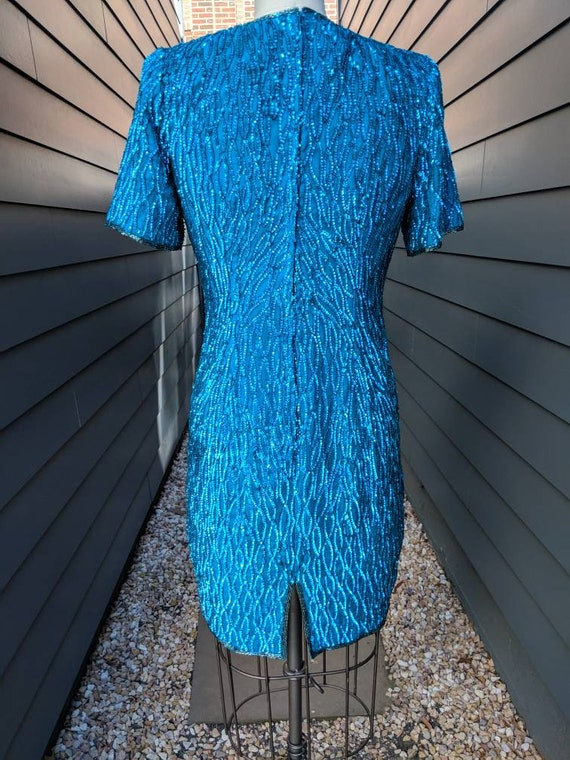 Vintage Sequin Cocktail Dress // Blue Sequin Dres… - image 6